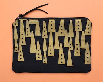 black and gold zipper pouch - handprinted cosmetic bag, pencil case, travel bag