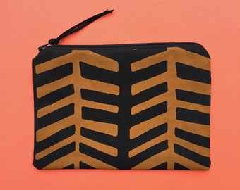 black and brown zipper pouch - handprinted cosmetic bag, pencil case, travel bag