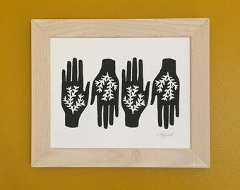 "hands art print in black and white - 8"" x 10"" - handmade screenprint - gardening and nature inspired"