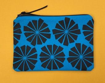 blue and black geometric zipper pouch - screenprinted cosmetic pouch, pencil case, organizer