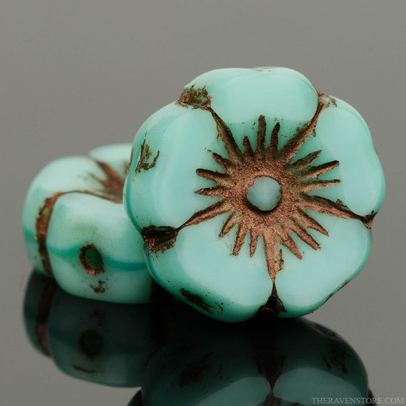 Emerald Green Silk Picasso Czech Glass Flower Beads 12mm 12 beads