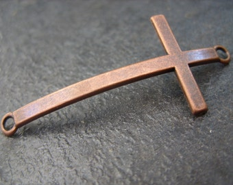 Antique Copper Cross Pendant Drop Component - Set of Two Pieces