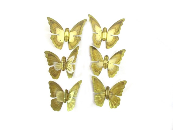 Home Interior Six Metal Gold Color Butterflies Vintage Old Etsy