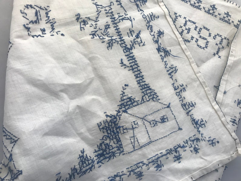Completed linen cross stitch wall hanging windmill Holland blue \u201cEast or West Home is Best\u201d Dutch European pillow boat