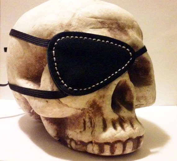 right side only Black Leather Red Stitching Metal Gear Solid Snake Big Boss Cosplay Costume Eyepatch by Darkwear Clothing