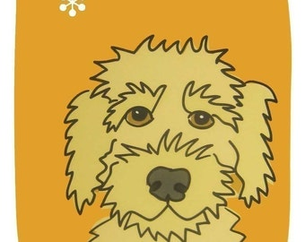 Goofy - a Yellow Labradoodle in the Dog Series Art Print
