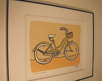 Yellow Bicycle - A Bike in the Transportation Series by Danielle J. Hurd Signed and Framed Print