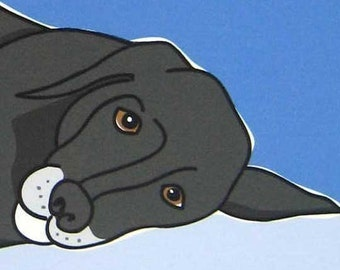 Mellow- a Black Lab in the Dog Series Art Print