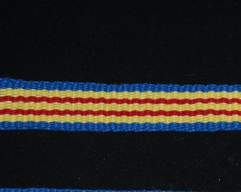 Cotton Inkle Tape Band Blue, Yellow & Red Trim Tape Garters SCA Medieval Renaissance Colonial 18th century