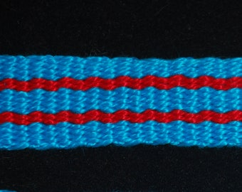 Cotton Inkle Tape Band Turquoise Blue and Red Trim Tape Garters SCA Medieval Renaissance Colonial 18th century