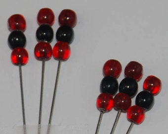 Veil Pins bobbin lace SCA Medieval Red & Black Czech Glass