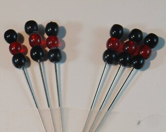 Veil Pins bobbin lace SCA Medieval Black & Red Czech Glass