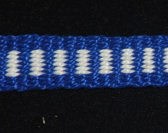 Cotton Inkle Tape Band Blue and White Trim Tape Garters SCA Medieval Renaissance Colonial 18th century