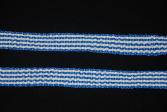 Cotton Inkle Tape Band Blue & White Stripe Trim Tape Garters SCA Medieval  Renaissance Colonial 18th century