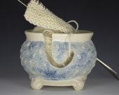 Blue and White Yarn Bowl, Blue Stoneware Yarn Bowl, Knitting Bowl, blue Yarn bowl, Artisan Yarn Bowl, Yarnbowl, Yarnbowls, gift
