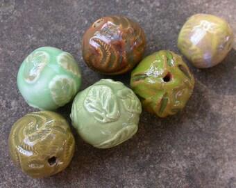Spring Bead Mix, Green Bead Mix, Green Ceramic Beads, Green Pottery Beads, Spring Bead Set, Green Bead Set, Mixed Green Beads, Green Beads