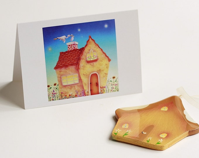 HOME DELIVERY Baby Card and Cottage Ornament | New Baby Gift  | Keepsake Baby Gift | Home Birth Present | Valerie Walsh Art Work