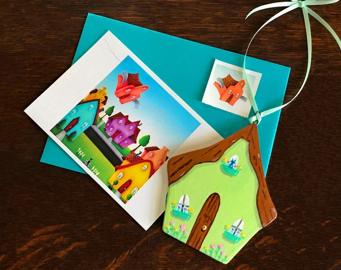 Soft Green Cottage hanging Decoration | Green Cottage Ornament | Spring Cottage with Flowers and Kitty | Valerie Walsh Cards and Ornaments