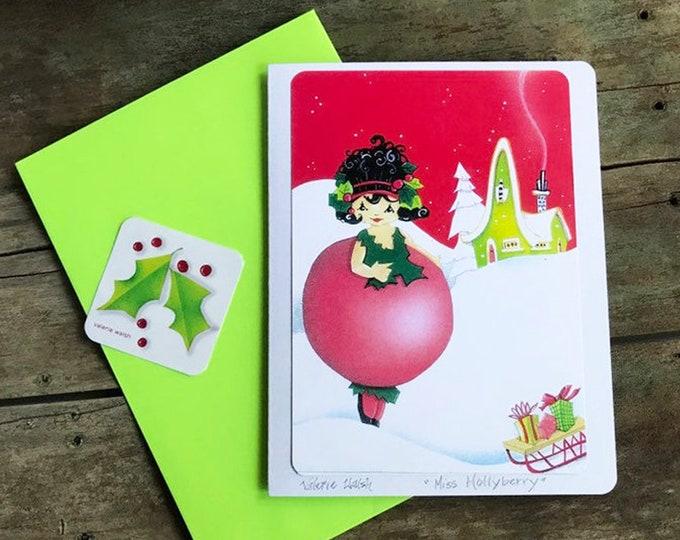 Holly Berry Holiday Card | Colorful Elfin Postal Card | Woodland Greetings |  Christmas holiday Card | Valerie Walsh Art Work | 5 x 7