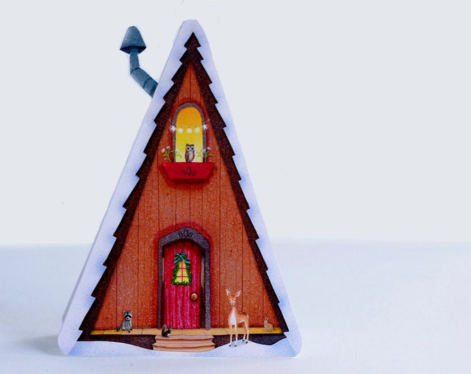 Alpine Haus GREETING CARD | Little  House In the Woods Greeting Card | House Shaped Card | Woodland ANIMALS Card | Valerie Walsh  Cards