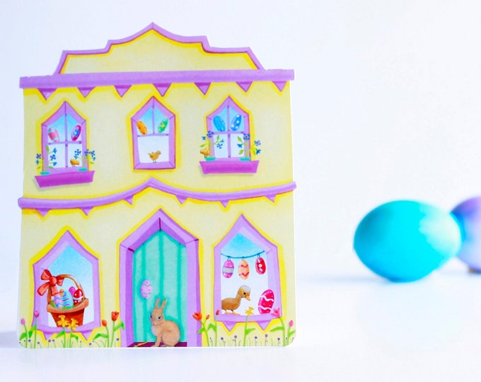 EASTER GREETING CARD | Little Easter House Greeting Card | House Shaped Card for Easter |Easter Themed Card | Valerie Walsh Greeting Cards