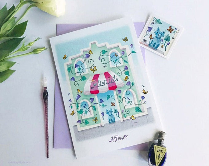 WILDFLOWER Greeting Card with Envelope|  Floral Greeting Card| Birthday Card | Just Because Cards | Friendship Card | Kitty Floral Stickers