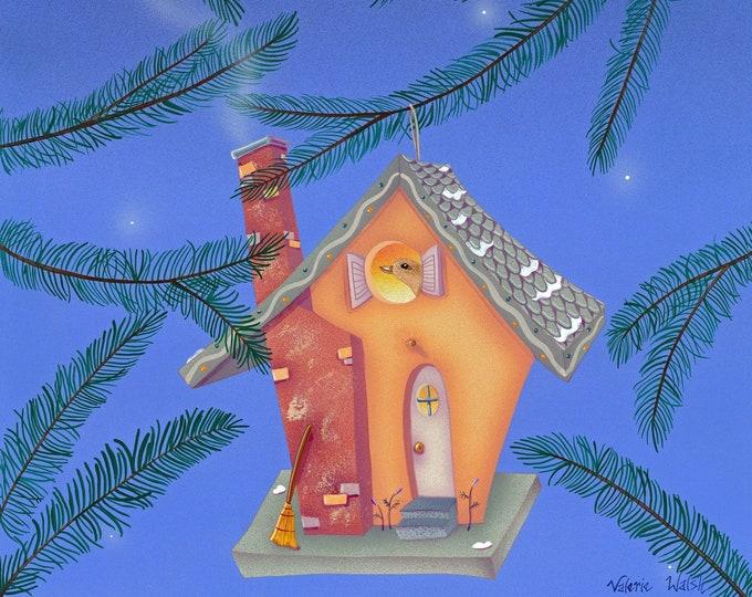BIRD HOUSE Framed Art Print | Home for Birds Painting | Rustic Wall Art | Winter Scene Print | Aviary Art | Valerie Walsh Art | 8x10 | 12x12