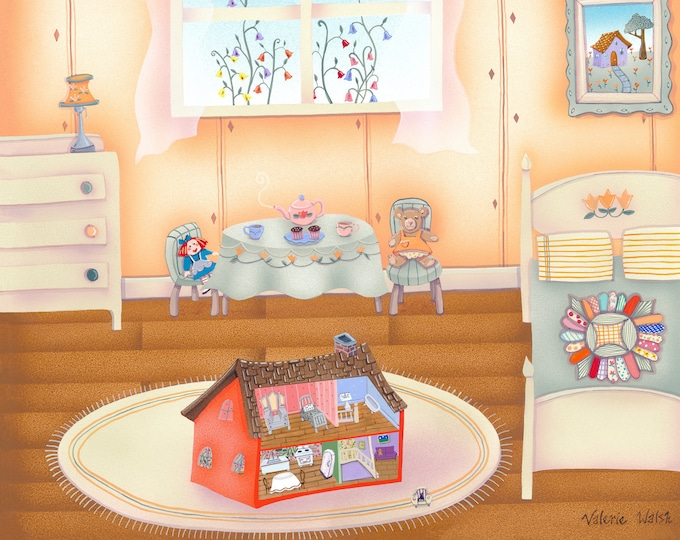 DOLL HOUSE Framed Print | Childhood Painting | Nursery Room Wall Art | New Baby Art | Print for Childs Room | Valerie Walsh Art Work | 12x12