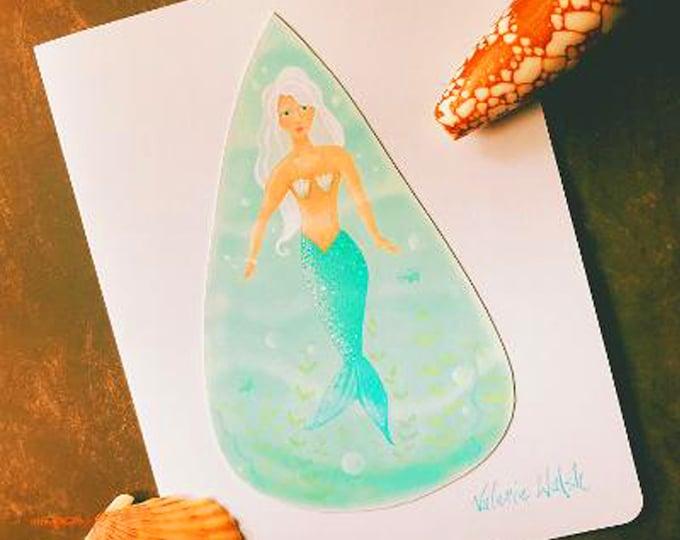 Aqua Maiden Greeting Card | Mermaid Water Drop Shaped Card | Ocean-Mermaid-Sea Shells-Underwater- Summer Greeting Card-Valerie Walsh Cards