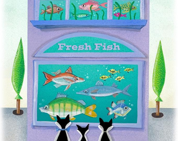 FRESH FISH FRAMED Art Print | Cat themed Painting | Kitty Wall Art | Fish Shop for Cats Print | Valerie Walsh Art Work | 8x10