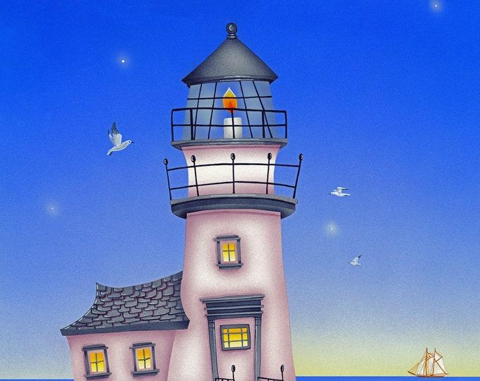LIGHT HOUSE Framed Art Print   Light House Painting   Nautical Wall Art   Seaside Print   Beach Cottage Art   Valerie Walsh Art   12x12