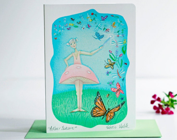 Mother Nature Greeting Card with Envelope| Floral Cards | Inspirational Greeting Cards | Flowers and Butterfly Cards | Friendship Cards
