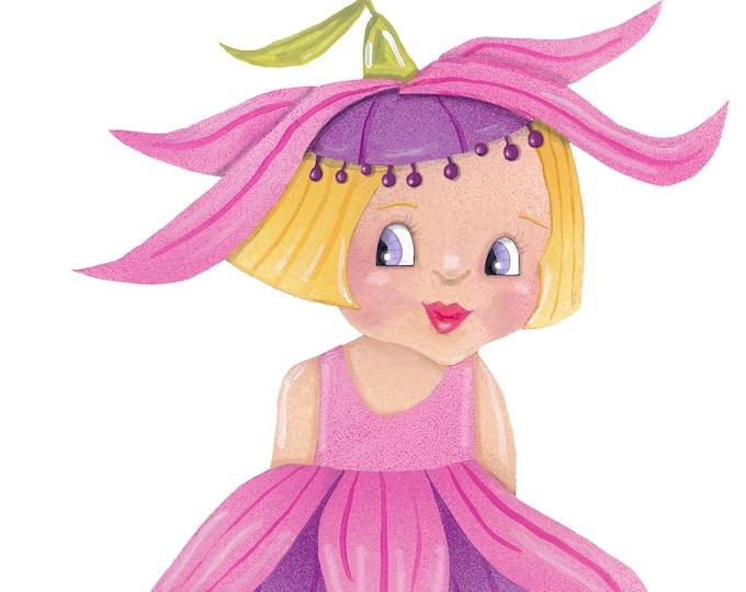 Fuchsia Flower Girl Card   Flower Garden Girl Greeting Card   Fuchsia -Flower-Girl   Blank Garden Greeting Card   Val Walsh Cards