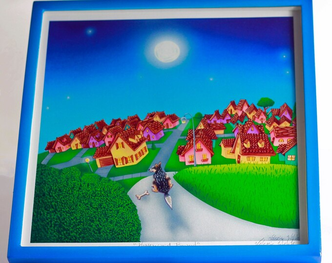 HOMEWARD BOUND Framed Art Print   Dog Painting   Whimsical Wall Art   Colorful Homes Print    Valerie Walsh Artwork    12x12