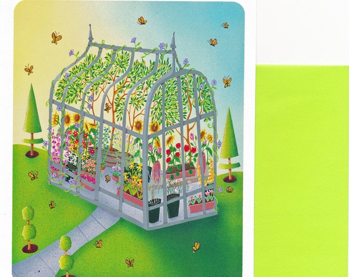 GREEN HOUSE Blank Greeting Card| Nature Art | Flowers and Butterflies Garden Art | Floral Green House Card| Valerie Walsh Greeting Cards