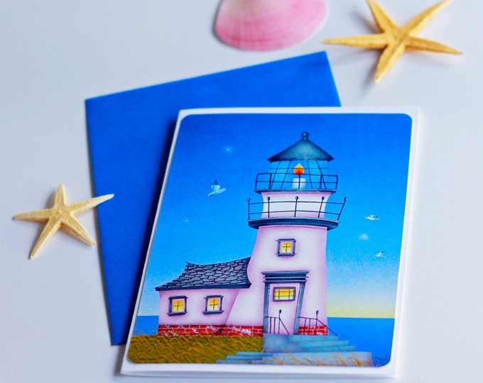 LIGHT HOUSE Blank Card | Nautical Greeting Card | Let it Shine Light House Postal Card | Valerie Walsh Greeting Cards |  Sail away with Me
