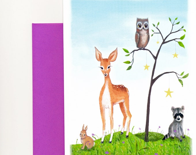Topanga Wildlife Greeting CARD | Friendship Card |Nature Animals Note card | Friendship Card | Deer-Raccoon-Owl- Bunny Greeting Card |