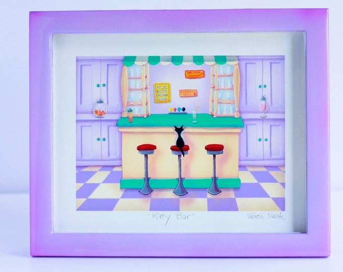 KITTY BAR Framed Art Print | Cat themed Painting | Kitty Wall Art | Ice Cream Parlor for Cats Print | Valerie Walsh Art Work | 8x10