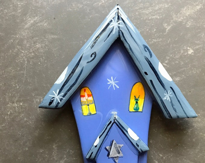HANUKKAH HOUSE Ornament | CHANUKAH Decoration | Personalized Hanukkah Ornament | Hanukkah Holiday Decor | Star of David | Valerie Walsh