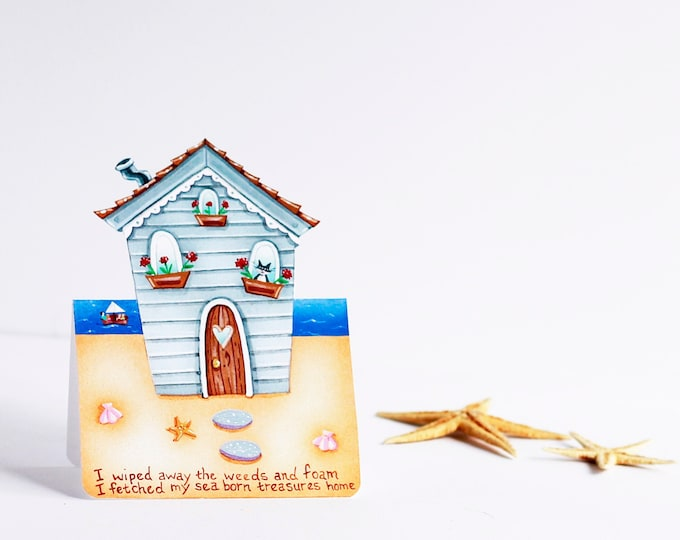 Beach House Greeting Card | House Shaped Greeting Card | Beach House-Ocean-Sailing-Sea Shells- Summer Greeting Card-Valerie Walsh Cards