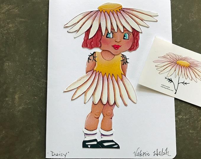 Daisy Girl Card     Flower Garden Girl Blank Greeting Card   Daisy-Little Flower Girl Card    Flower Sticker   Val Walsh Greeting Cards