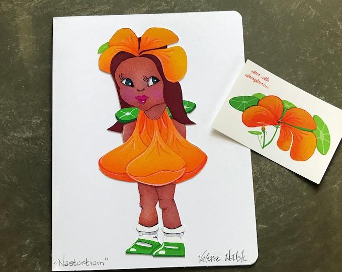 Nasturtium Flower Girl Card   Flower Garden Girl Greeting Card   Nasturtium- Flowers-Girl   Blank Garden Greeting Card   Val Walsh Cards