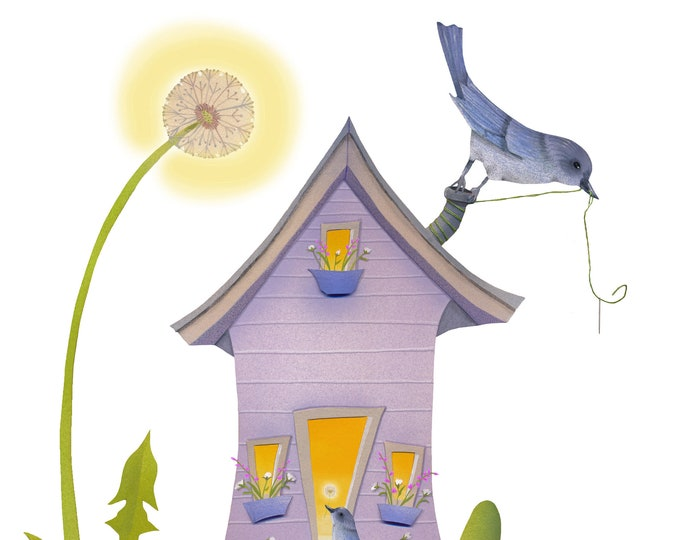Dandelion Cottage Card | Blank Interior Greeting Card- Dandelions-Bluebirds-Cottage- Patchwork quilt-Valerie Walsh Greeting Cards