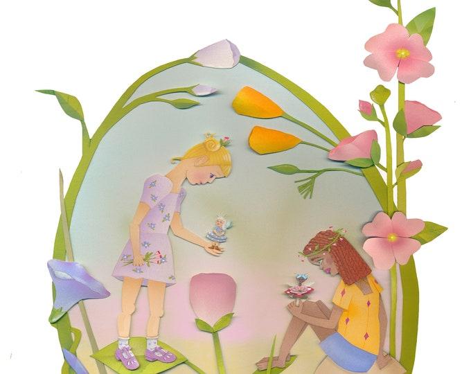 Topanga Fairyland Framed Print | Custom Framed Art Print | Fairies-Flowers-Little Girls-HollyHocks-Poppys-Licanthus | Floral themed 8 x 10