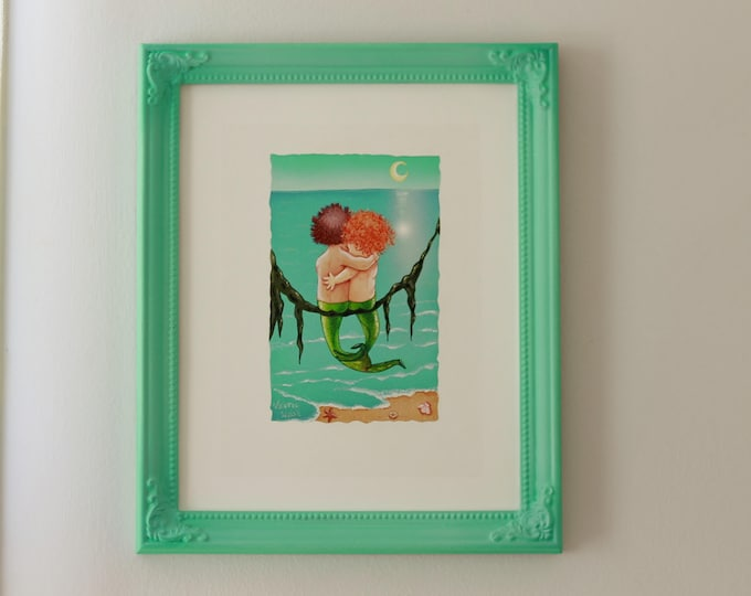Merkids Framed Art Print | Vintage Framed MERMAIDS | Mermaid Painting | Seaside Wall Art | Nautical Print | Baby Nursery Art | Valerie Walsh