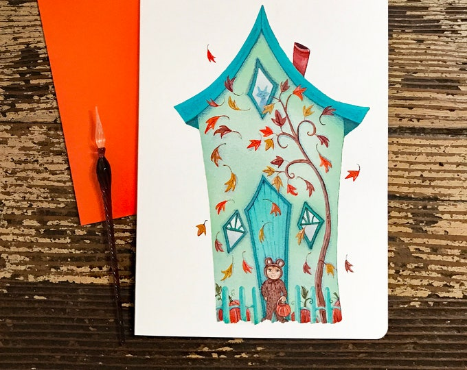 Falling Leaves Blank Card | Trick or Treat Greeting Card | Halloween Themed  Postal Card | Valerie Walsh Greeting Cards