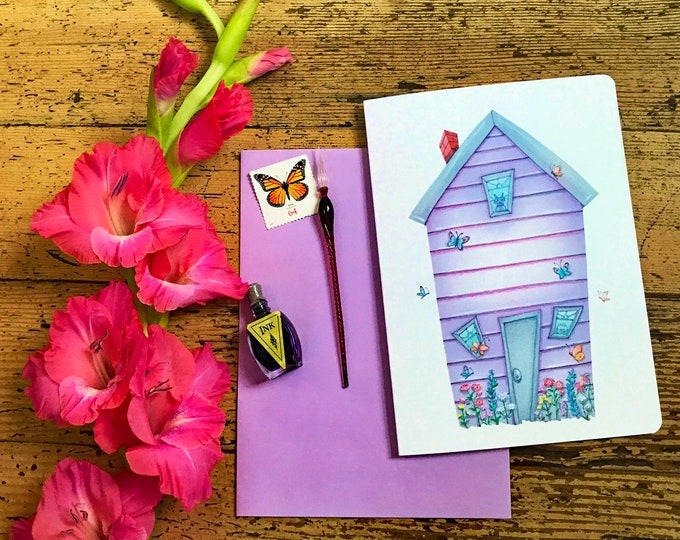 Be Free Butterflies Blank Card | Flowers and Butterflies Greeting Card | Tell me something Good Postal Card | Valerie Walsh Greeting Cards