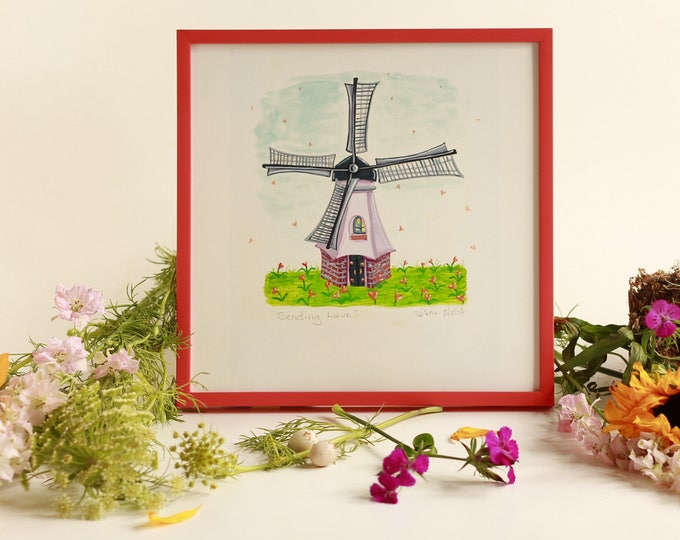 SENDING LOVE Framed Art Print | Whimsical Windmill Wall Art | Colorful Floral Print | LOVE themed Art Print  | Valerie Walsh Art Work | 8x8
