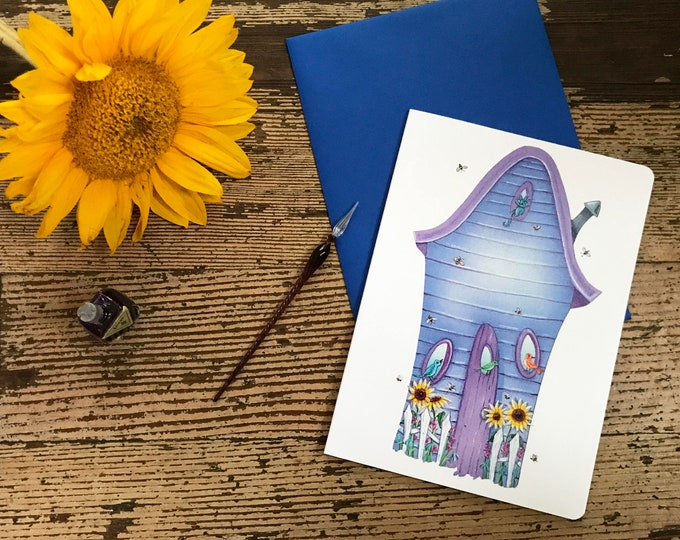 BIRDS and the BEES Blank CARD | House Warming Greeting Card | Home Sweet Home Postal Card | Floral Greetings | Valerie Walsh Greeting Cards