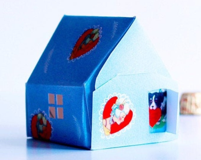 VALENTINE CANDY BOX | Blue Cottage With Dauphine Cameo and Feathers | Valentine Sweets Candy Box | Valentine Decoration | For Sweets & Treat